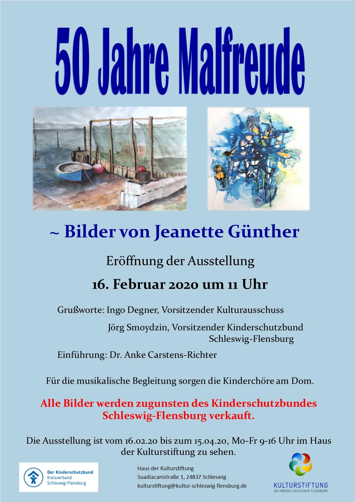 """Ausstellung """"50 Jahre Malfreude"""" von Jeanette Günther"""